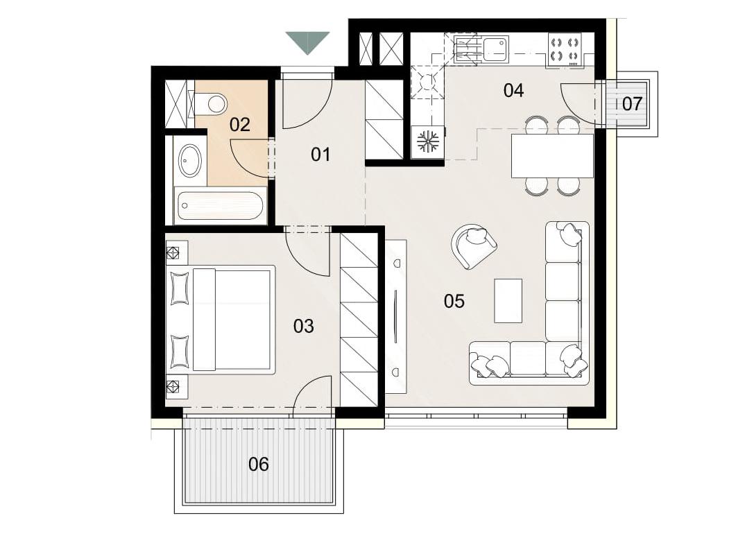 Rosenhaus byt 1001, 2-izbový. Novostavba Vrakuňa.
