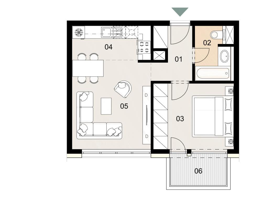 Rosenhaus byt 1003, 2-izbový. Novostavba Vrakuňa.