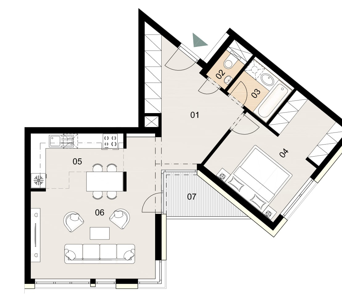 Rosenhaus byt 1004, 2-izbový. Novostavba Vrakuňa.