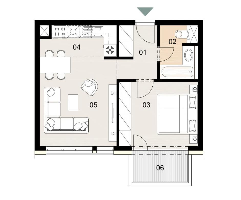 Rosenhaus byt 1005, 2-izbový. Novostavba Vrakuňa.