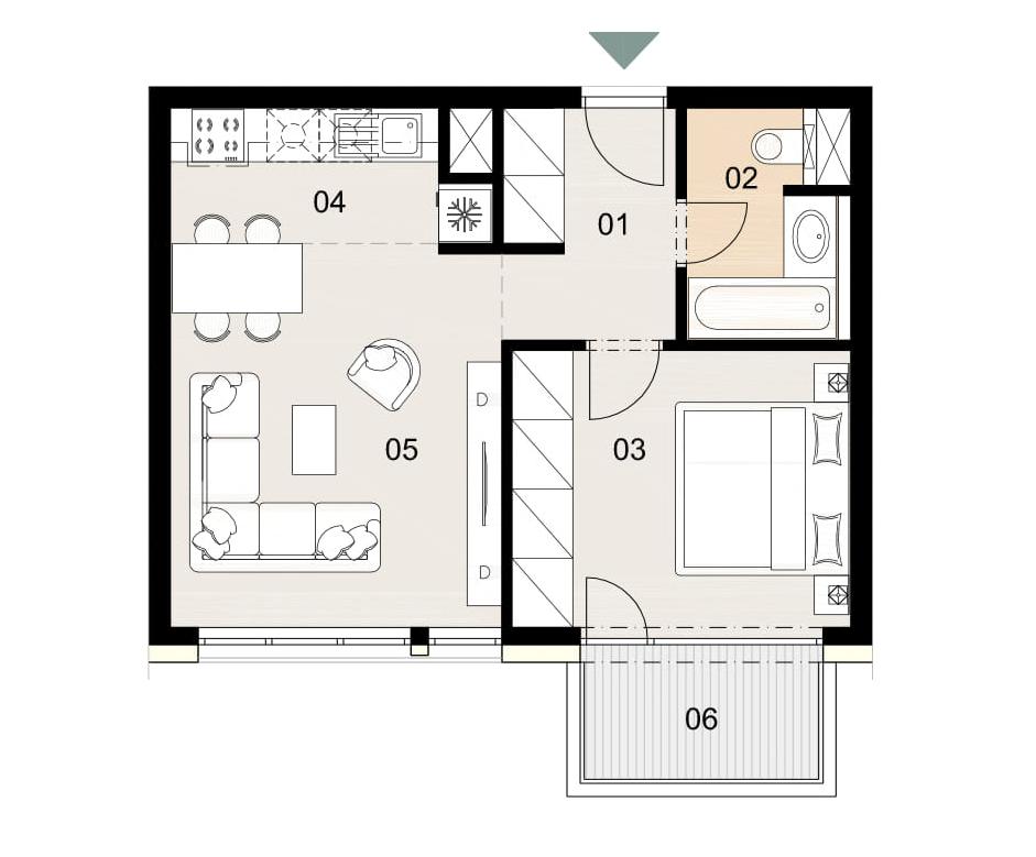 Rosenhaus byt 1006, 2-izbový. Novostavba Vrakuňa.