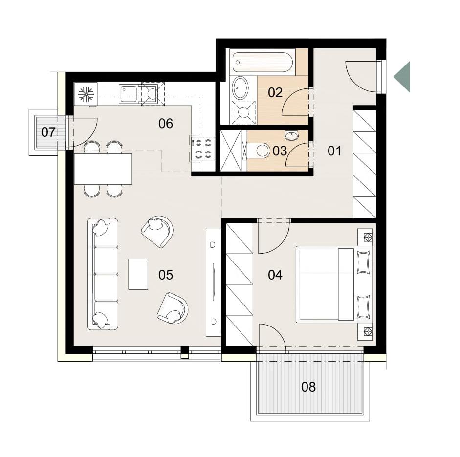 Rosenhaus byt 1007, 2-izbový. Novostavba Vrakuňa.