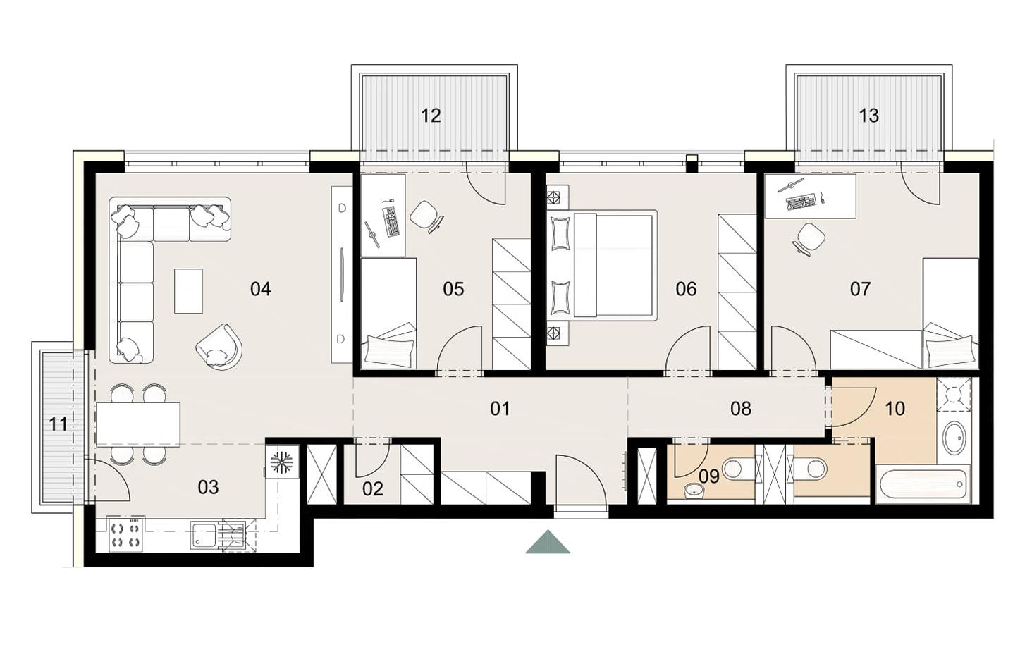Rosenhaus byt 1008, 4-izbový. Novostavba Vrakuňa.