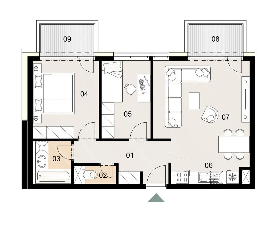 Rosenhaus byt 1010, 3-izbový. Novostavba Vrakuňa.