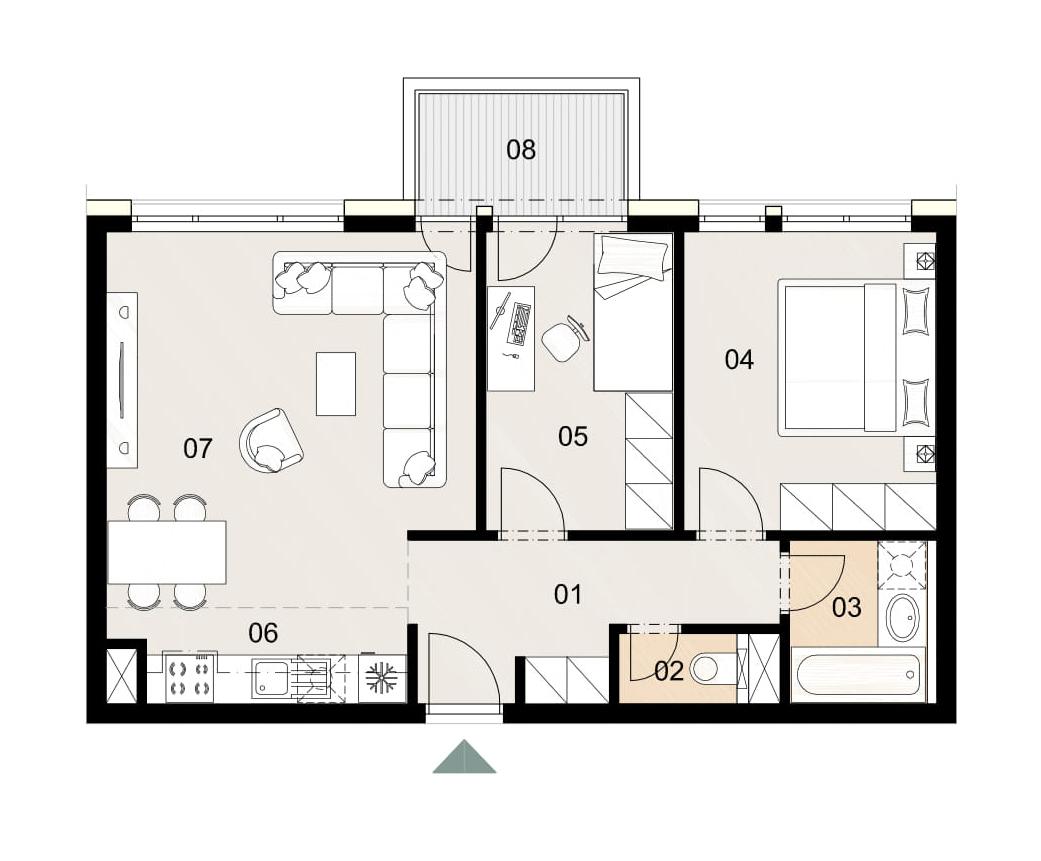 Rosenhaus byt 1011, 3-izbový. Novostavba Vrakuňa.