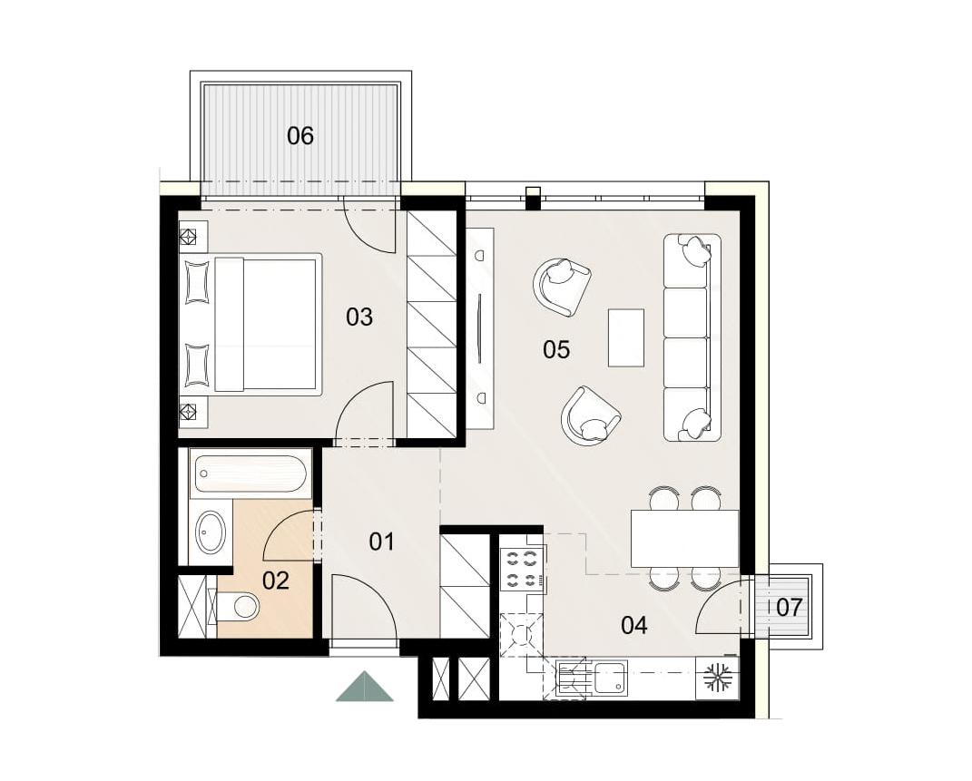 Rosenhaus byt 1012, 2-izbový. Novostavba Vrakuňa.