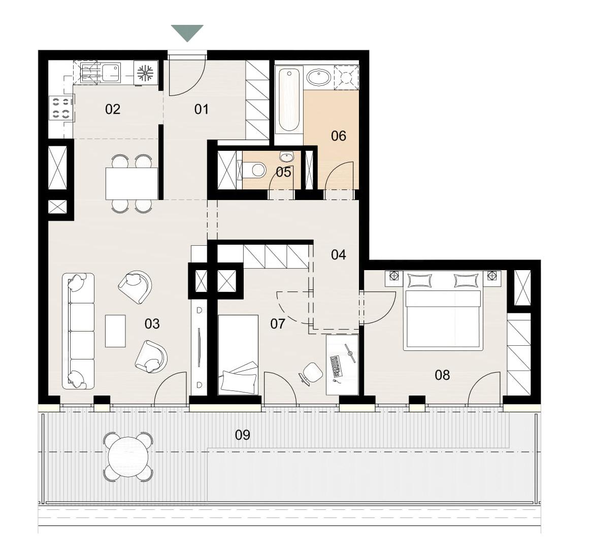 Rosenhaus byt 1104, 3-izbový. Novostavba Vrakuňa.