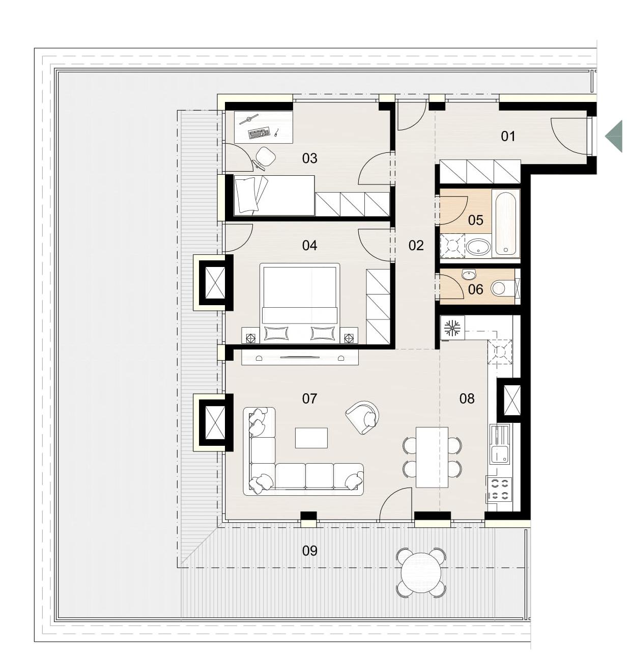Rosenhaus byt 1105, 3-izbový. Novostavba Vrakuňa.