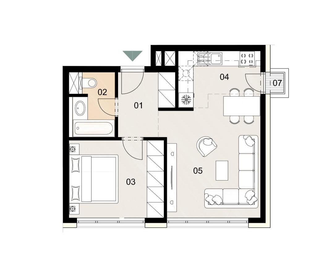 Rosenhaus byt 201, 2-izbový. Novostavba Vrakuňa.