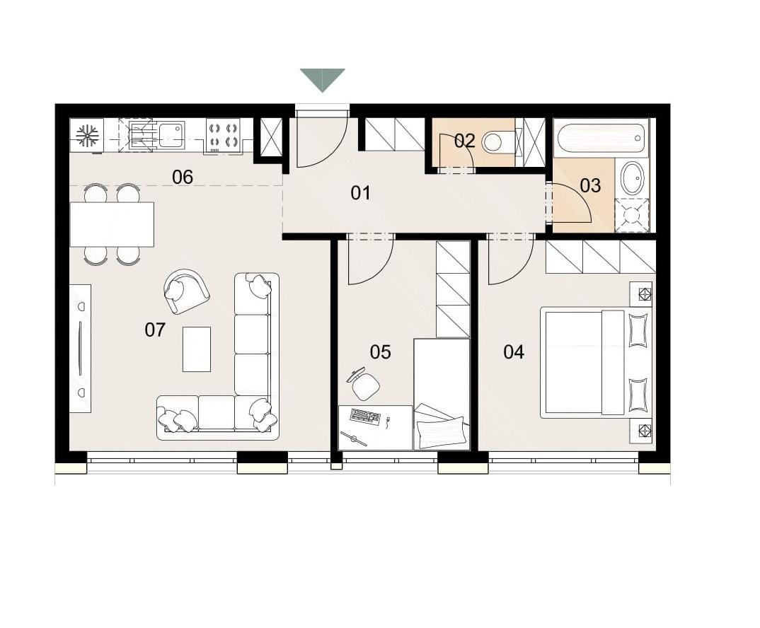 Rosenhaus byt 202, 3-izbový. Novostavba Vrakuňa.
