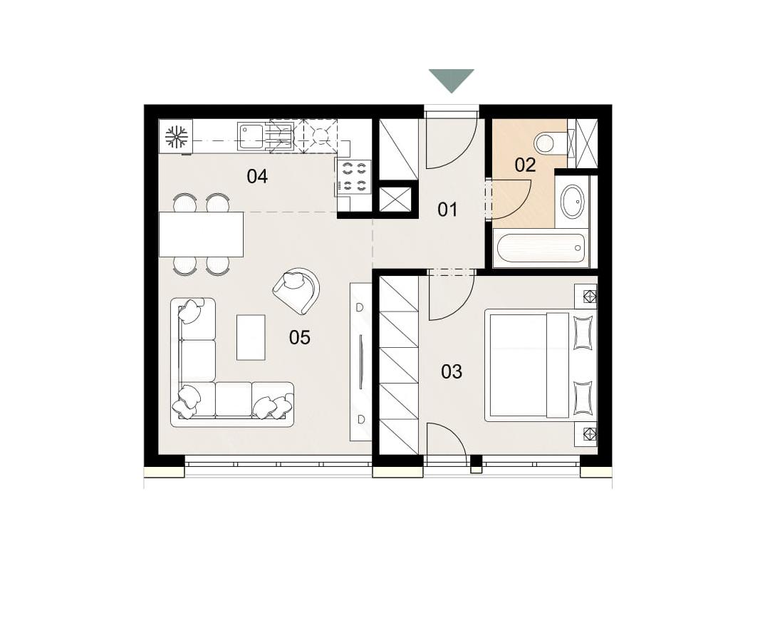 Rosenhaus byt 203, 2-izbový. Novostavba Vrakuňa.