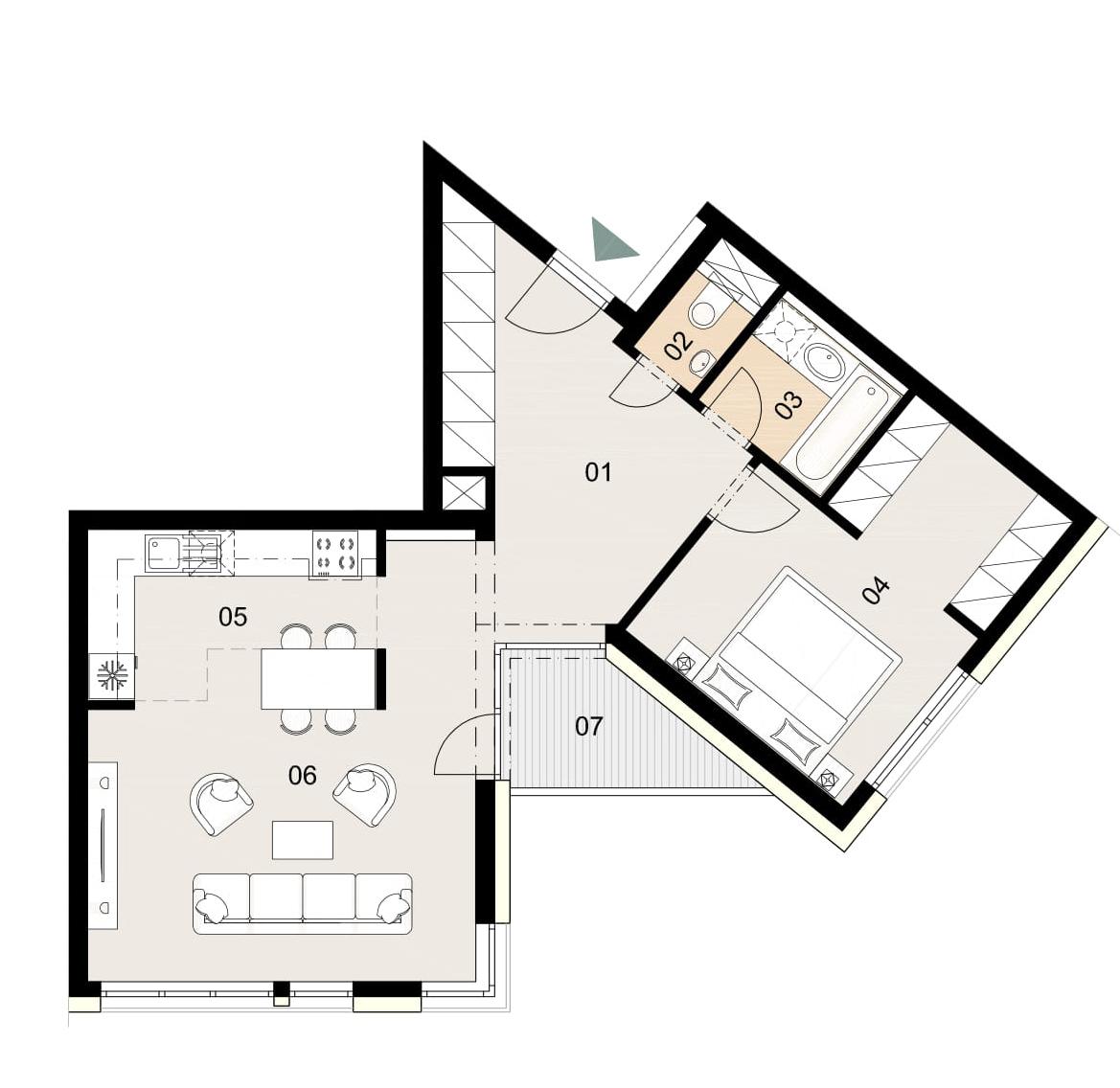 Rosenhaus byt 204, 2-izbový. Novostavba Vrakuňa.