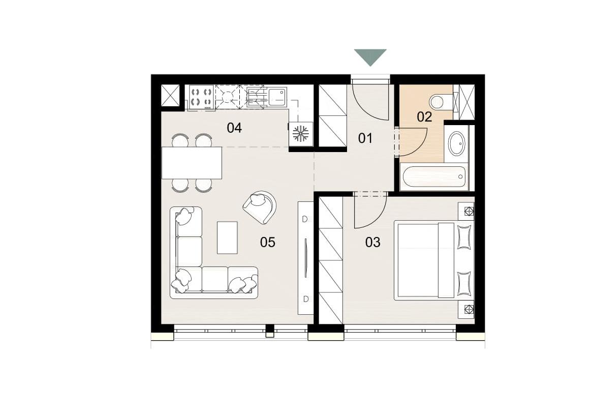 Rosenhaus byt 205, 2-izbový. Novostavba Vrakuňa.