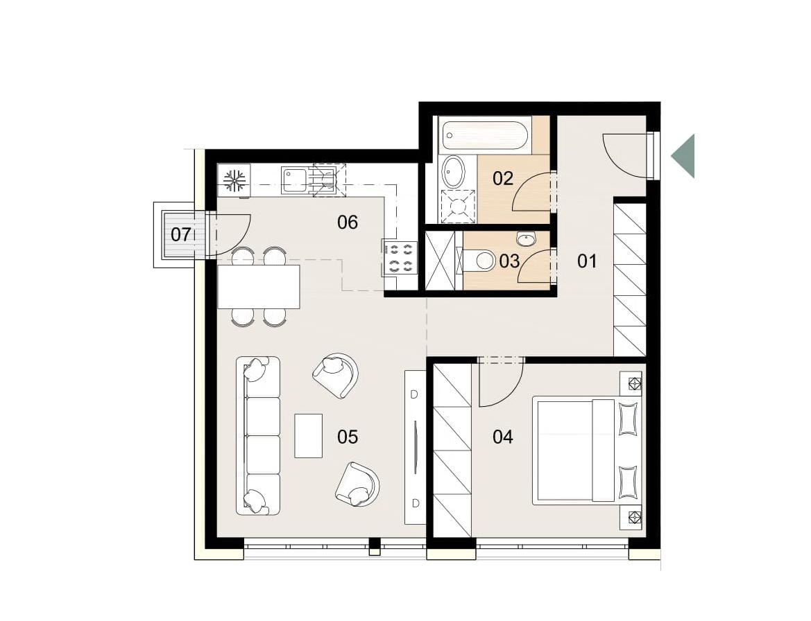 Rosenhaus byt 207, 2-izbový. Novostavba Vrakuňa.