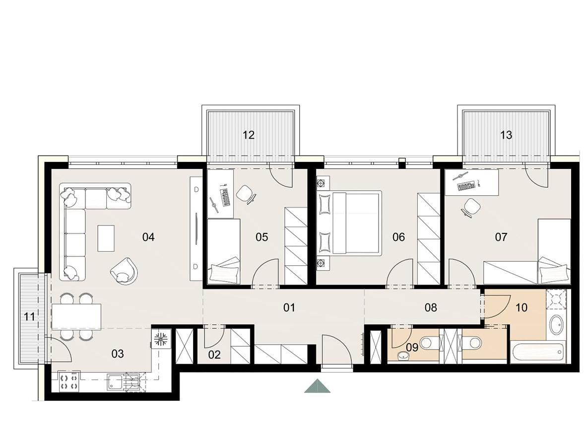 Rosenhaus byt 208, 4-izbový. Novostavba Vrakuňa.