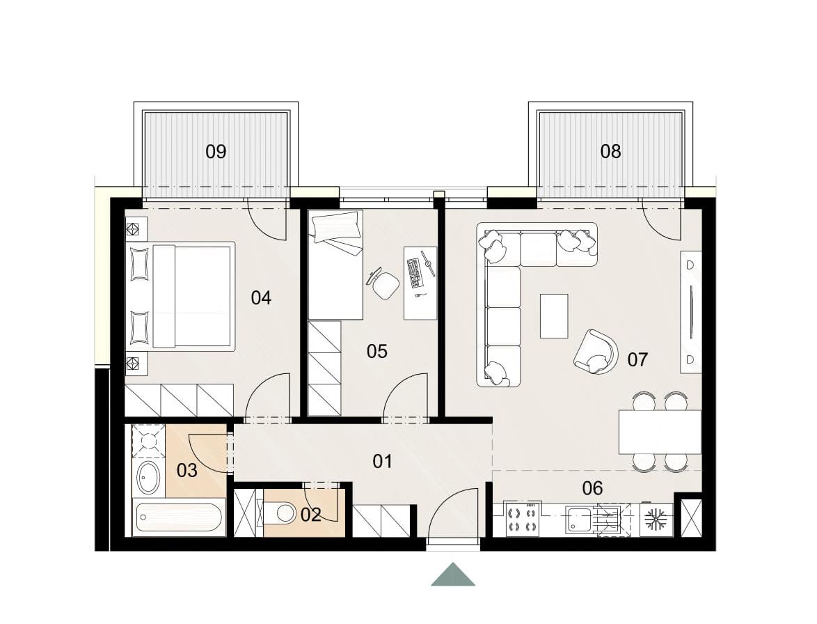 Rosenhaus byt 210, 3-izbový. Novostavba Vrakuňa.