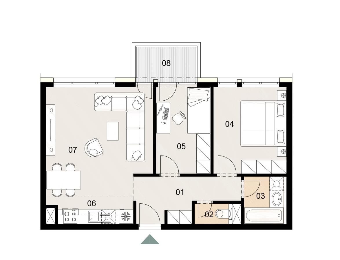 Rosenhaus byt 211, 3-izbový. Novostavba Vrakuňa.