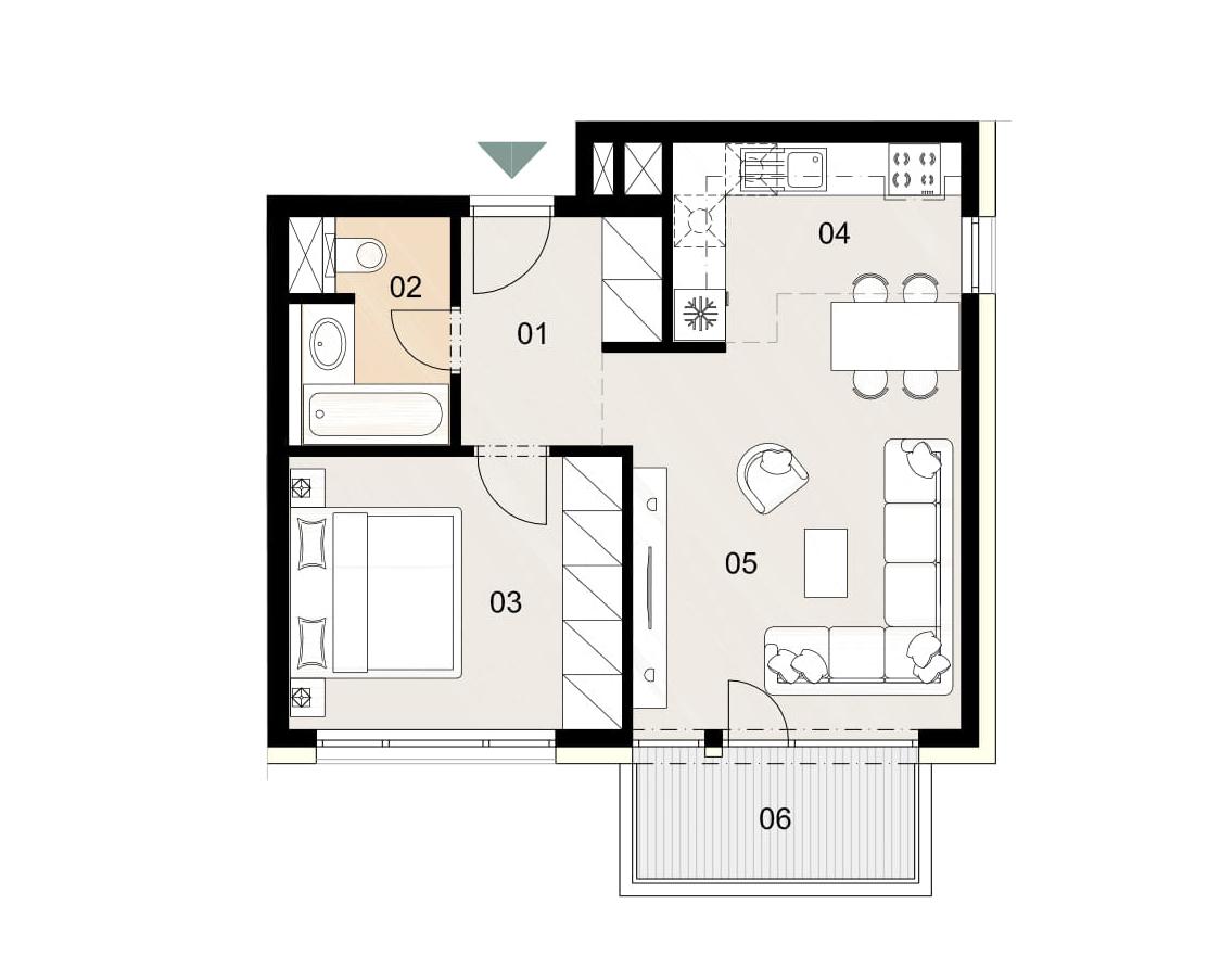 Rosenhaus byt 301, 2-izbový. Novostavba Vrakuňa.