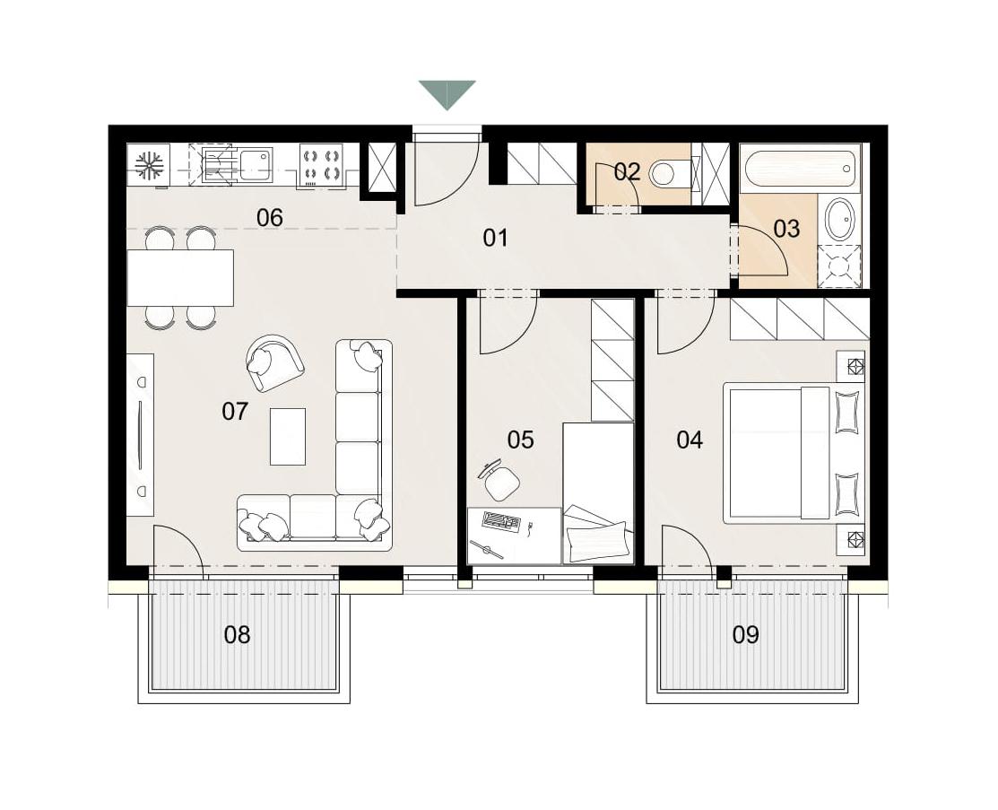 Rosenhaus byt 302, 3-izbový. Novostavba Vrakuňa.