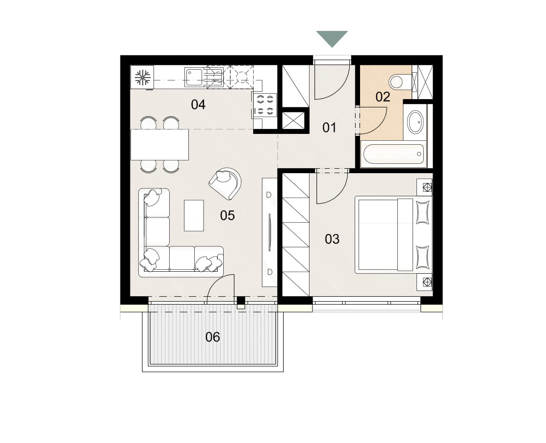 Rosenhaus byt 303, 2-izbový. Novostavba Vrakuňa.