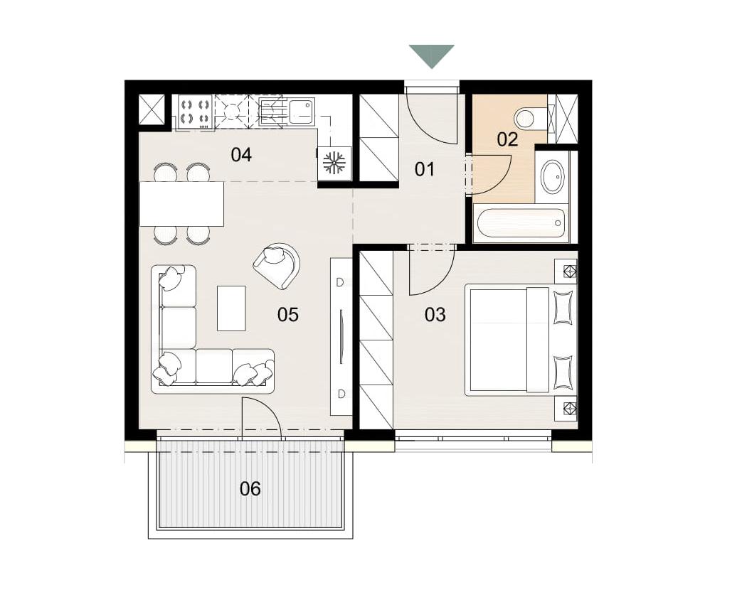 Rosenhaus byt 305, 2-izbový. Novostavba Vrakuňa.