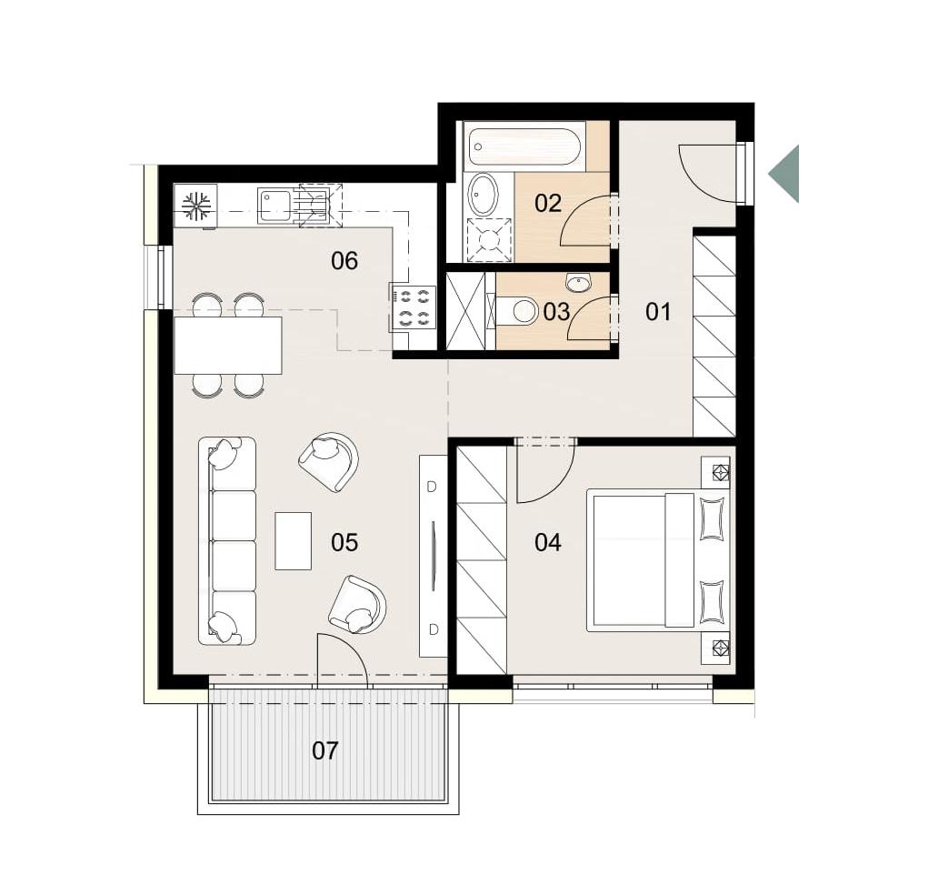 Rosenhaus byt 307, 2-izbový. Novostavba Vrakuňa.