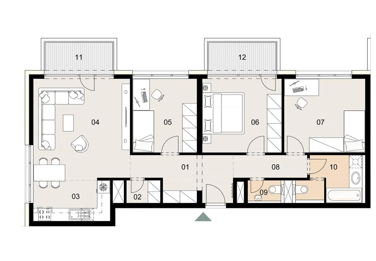 Rosenhaus byt 308, 4-izbový. Novostavba Vrakuňa.
