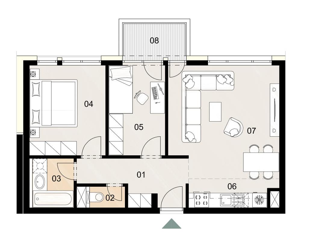 Rosenhaus byt 310, 3-izbový. Novostavba Vrakuňa.
