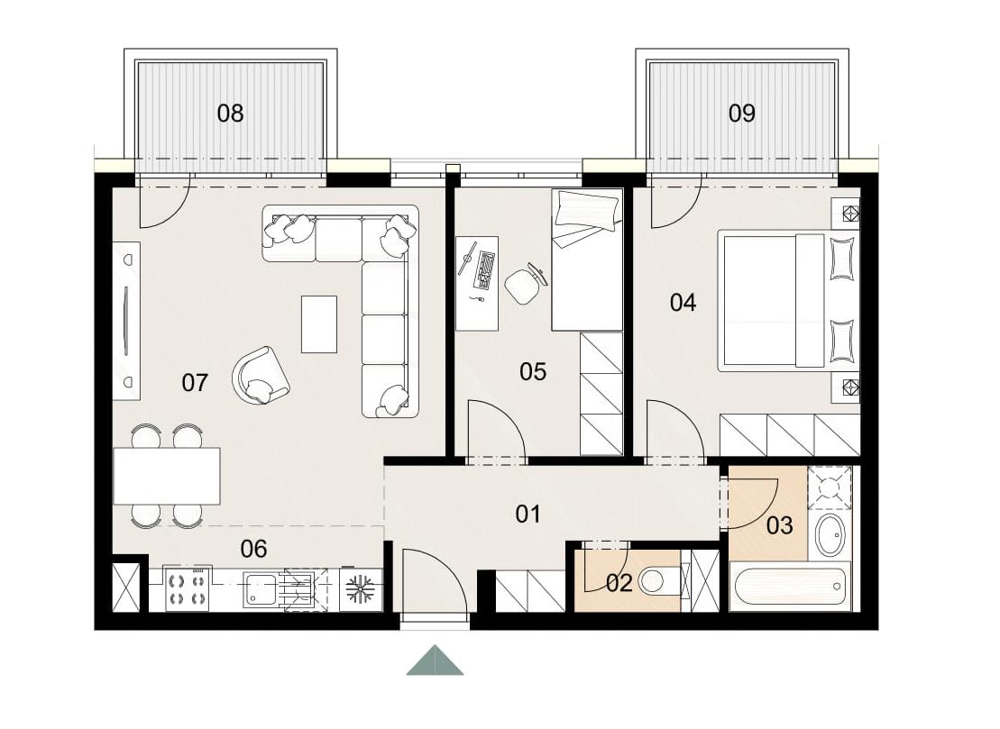 Rosenhaus byt 311, 3-izbový. Novostavba Vrakuňa.