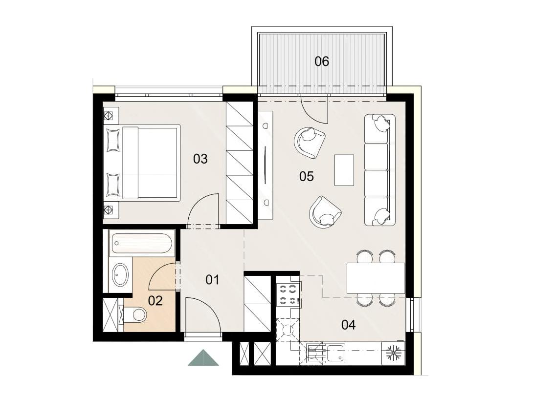 Rosenhaus byt 312, 2-izbový. Novostavba Vrakuňa.