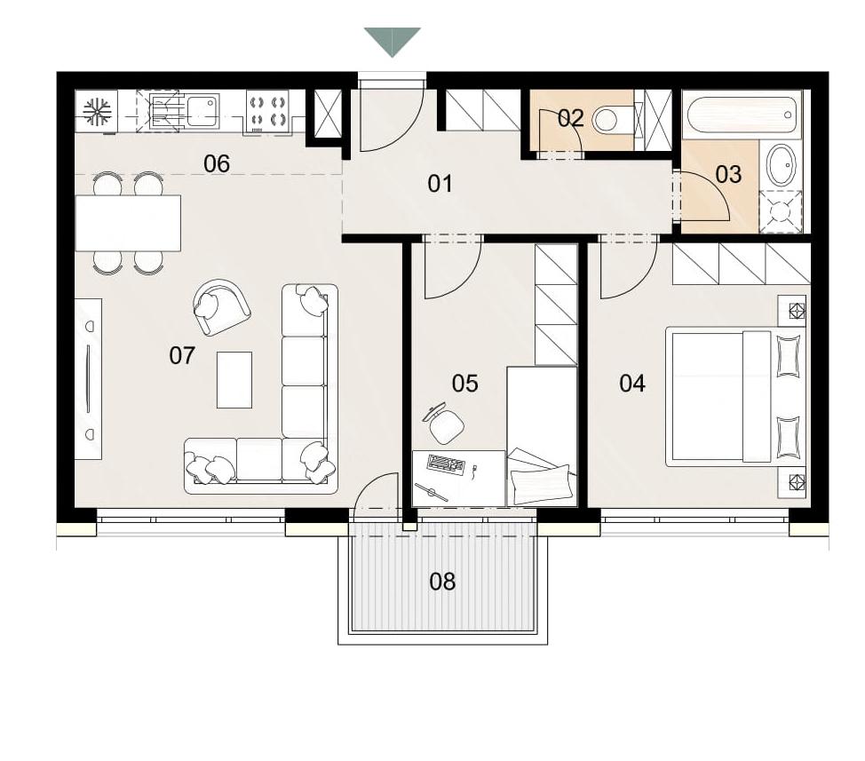 Rosenhaus byt 402, 3-izbový. Novostavba Vrakuňa.