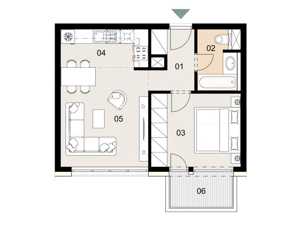 Rosenhaus byt 403, 2-izbový. Novostavba Vrakuňa.