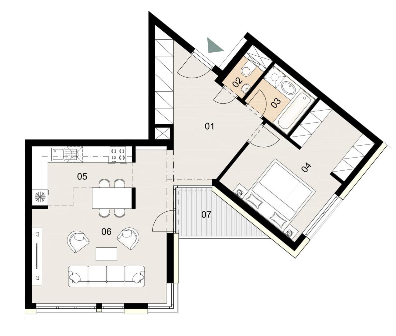 Rosenhaus byt 404, 2-izbový. Novostavba Vrakuňa.