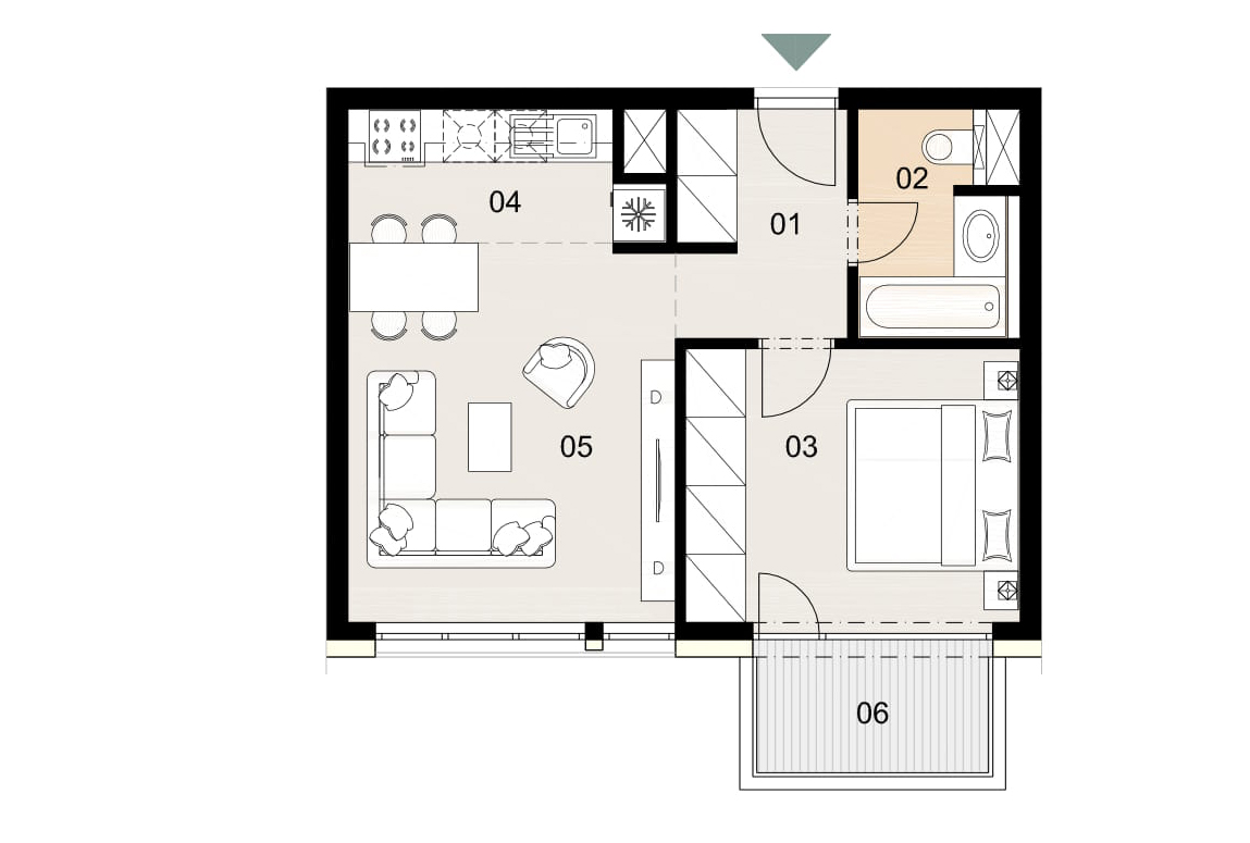 Rosenhaus byt 406, 2-izbový. Novostavba Vrakuňa.