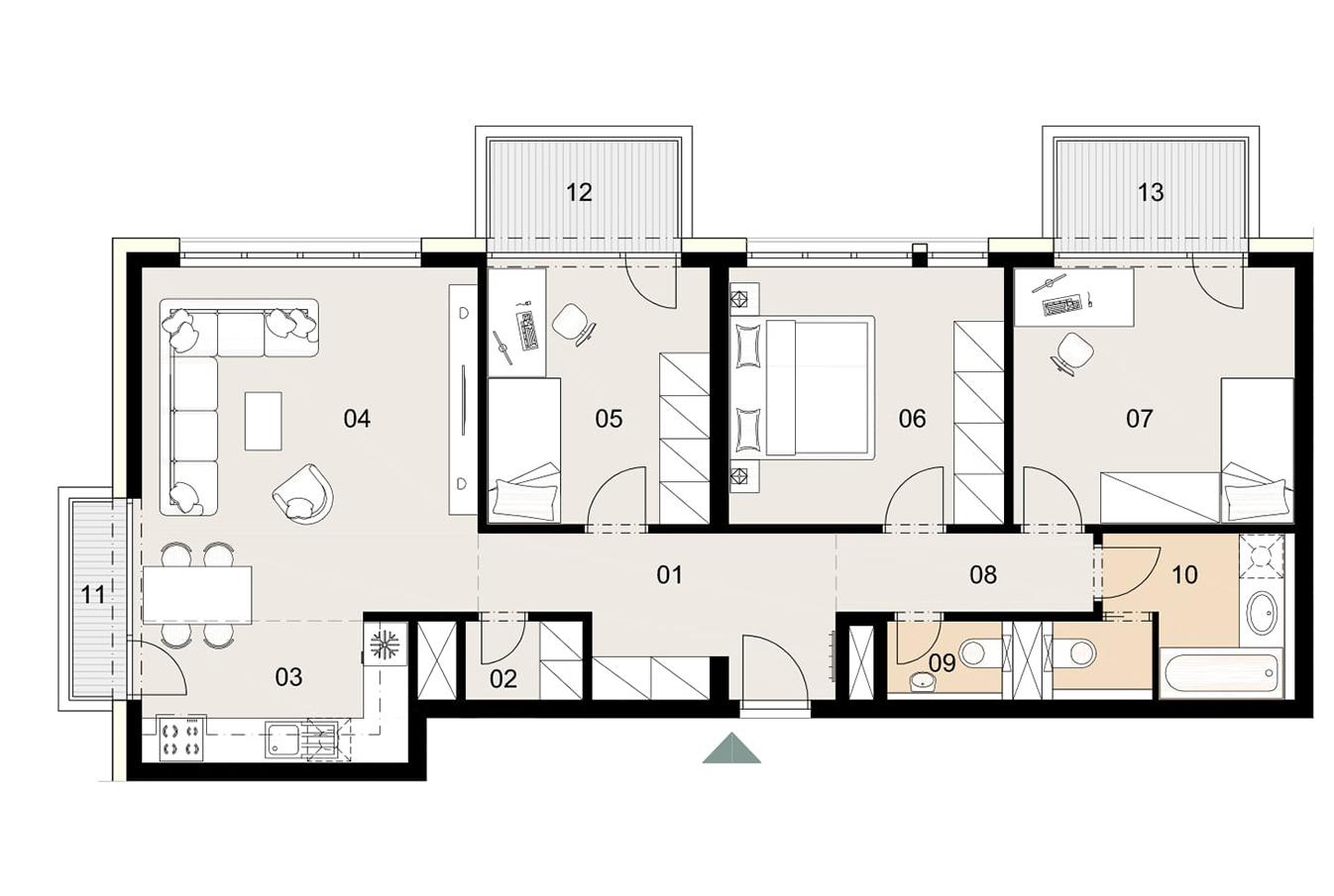 Rosenhaus byt 408, 4-izbový. Novostavba Vrakuňa.