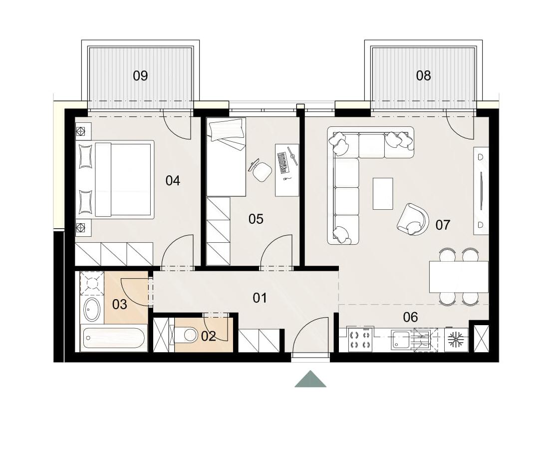 Rosenhaus byt 410, 3-izbový. Novostavba Vrakuňa.