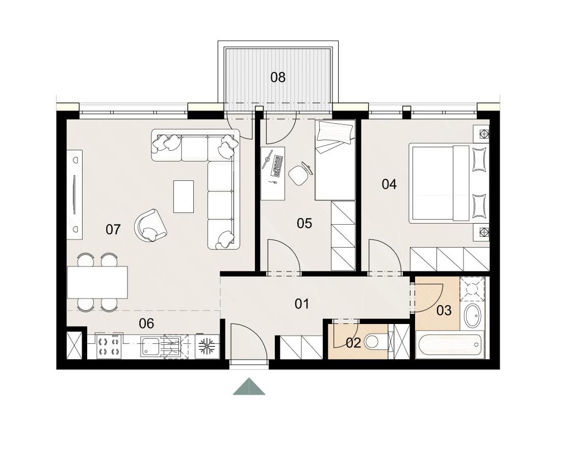 Rosenhaus byt 411, 3-izbový. Novostavba Vrakuňa.