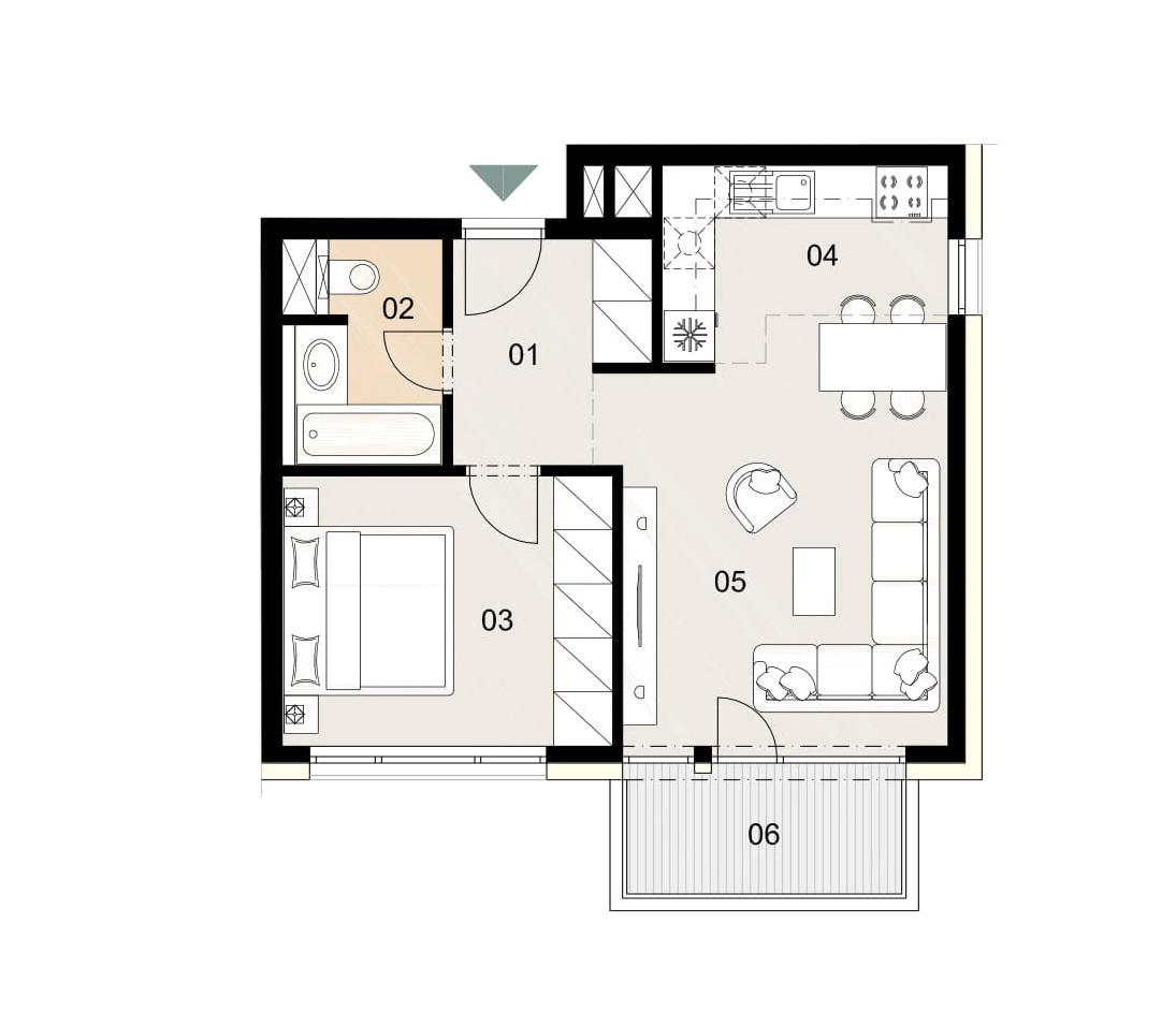 Rosenhaus byt 501, 2-izbový. Novostavba Vrakuňa.