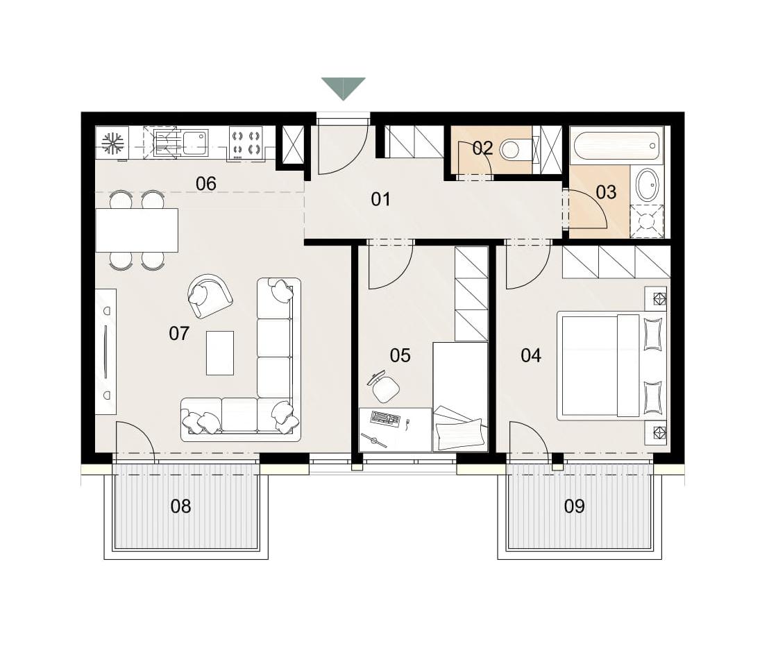 Rosenhaus byt 502, 3-izbový. Novostavba Vrakuňa.