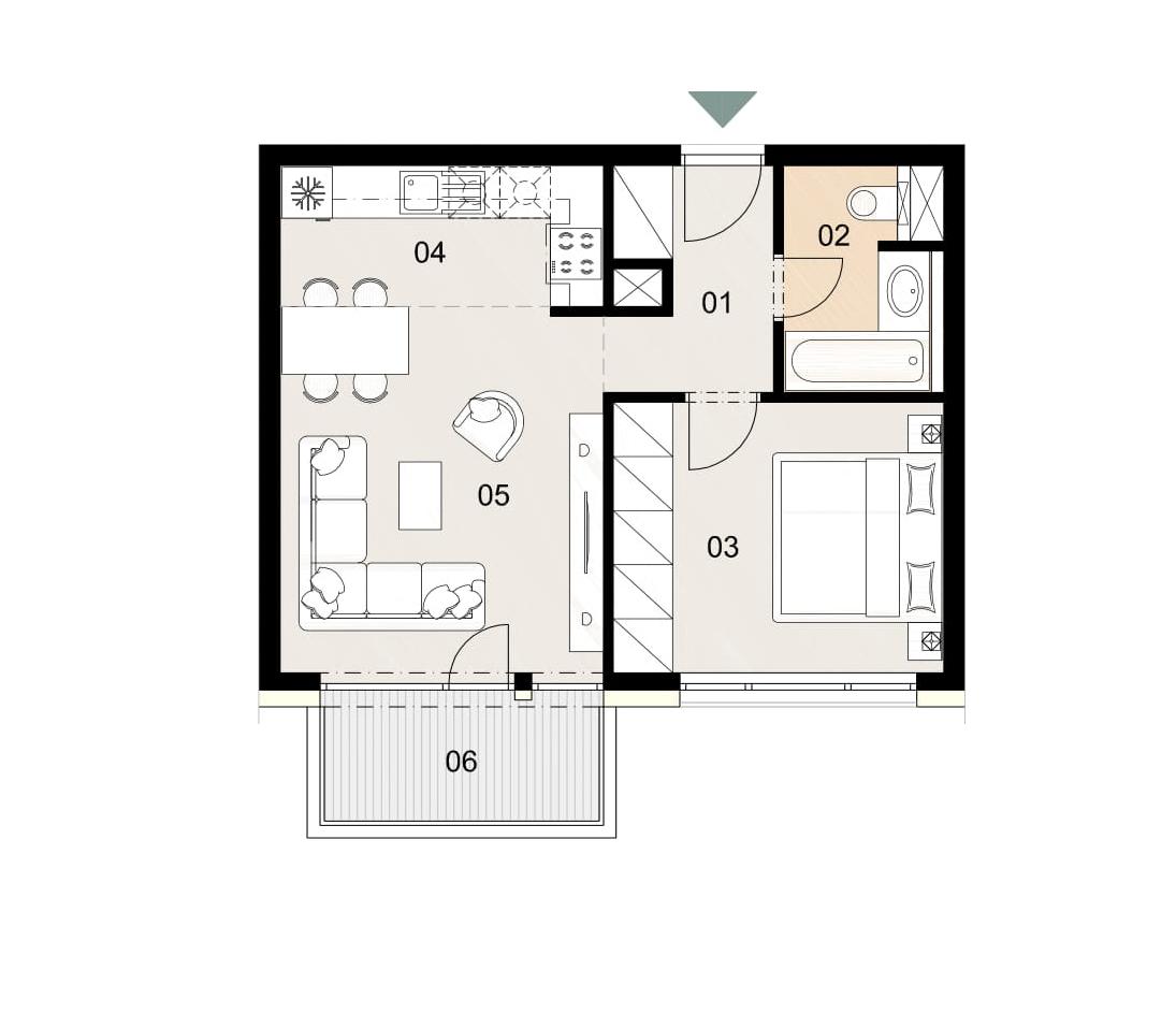 Rosenhaus byt 503, 2-izbový. Novostavba Vrakuňa.