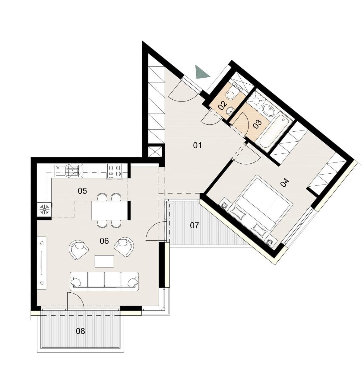 Rosenhaus byt 504, 2-izbový. Novostavba Vrakuňa.