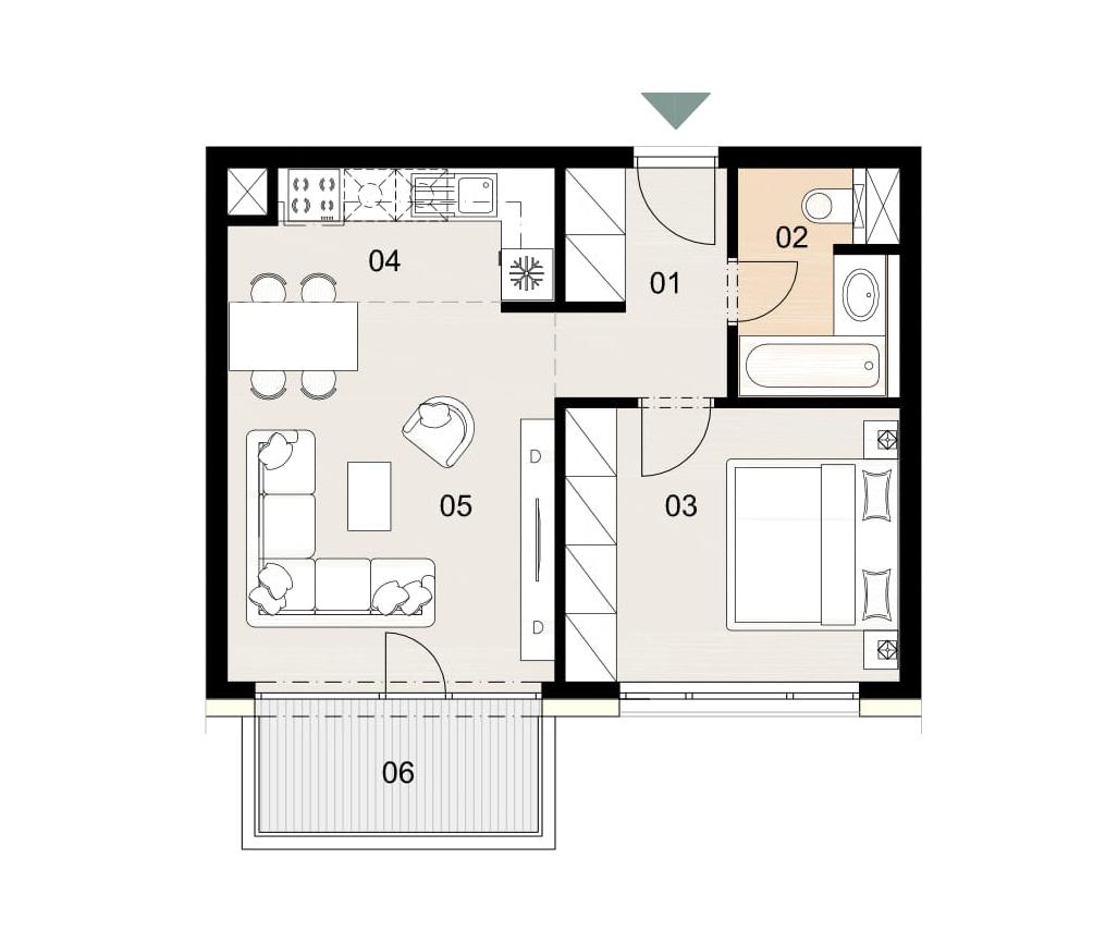 Rosenhaus byt 505, 2-izbový. Novostavba Vrakuňa.
