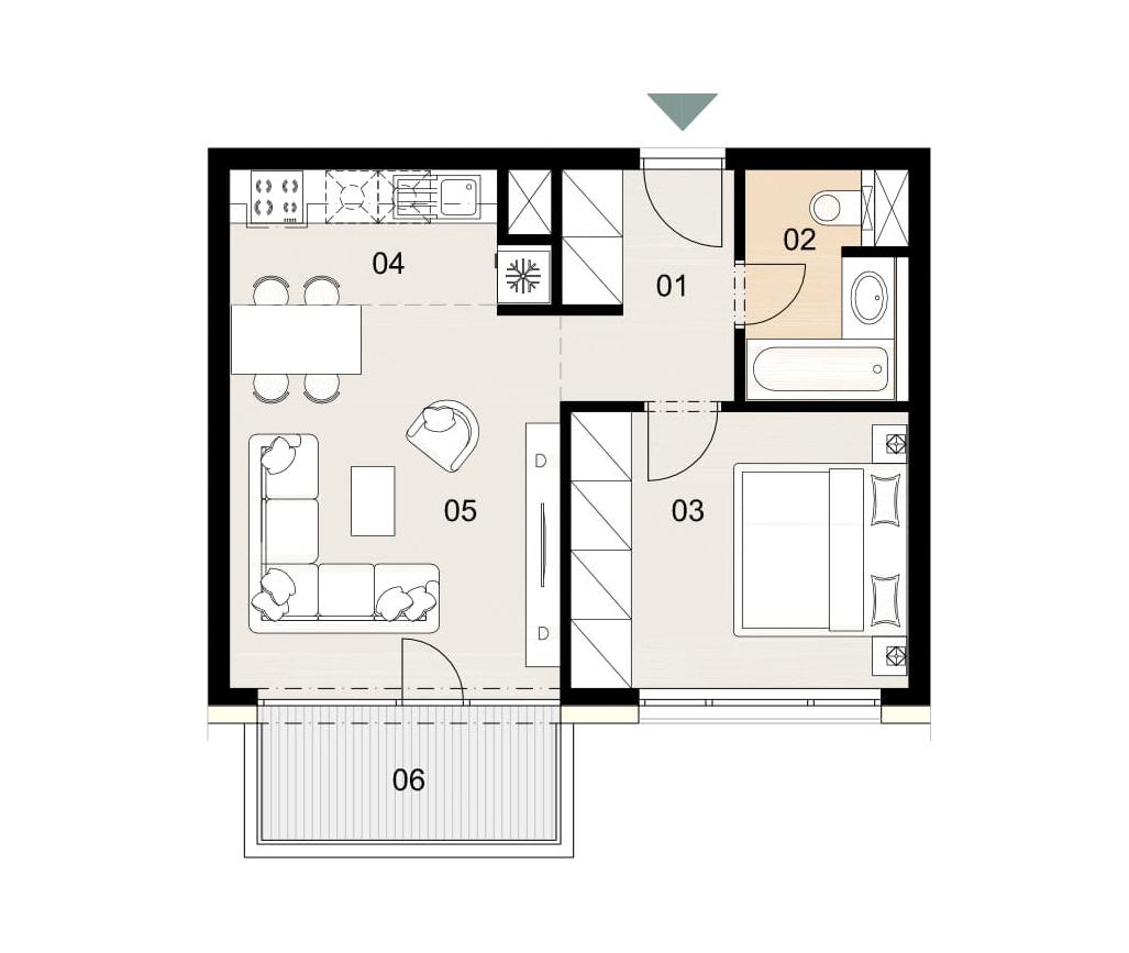 Rosenhaus byt 506, 2-izbový. Novostavba Vrakuňa.
