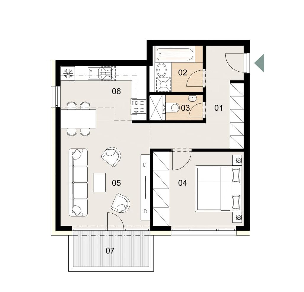 Rosenhaus byt 507, 2-izbový. Novostavba Vrakuňa.