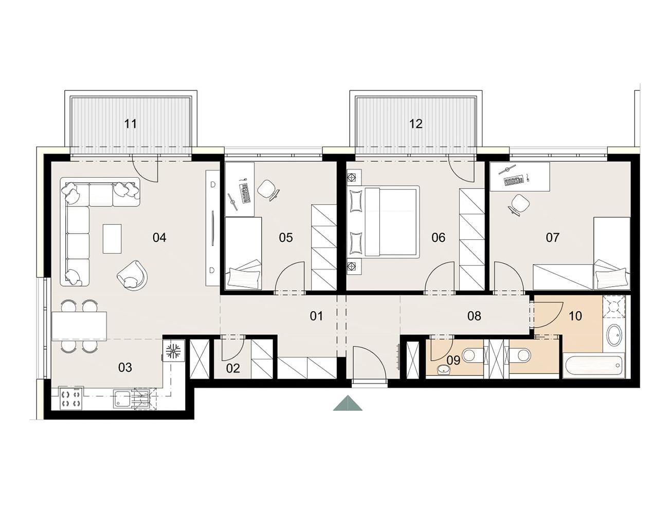 Rosenhaus byt 508, 4-izbový. Novostavba Vrakuňa.