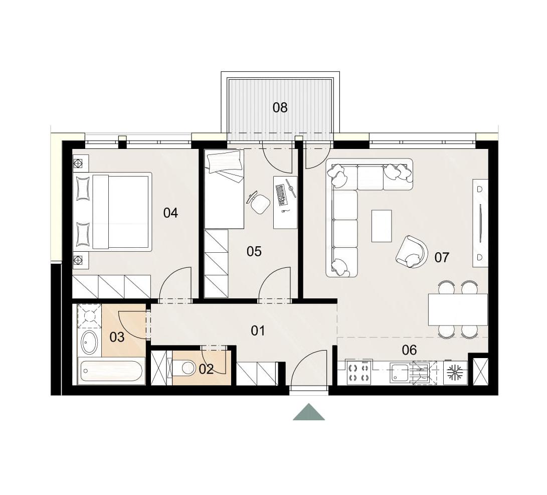 Rosenhaus byt 510, 3-izbový. Novostavba Vrakuňa.