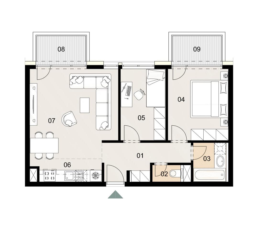 Rosenhaus byt 511, 3-izbový. Novostavba Vrakuňa.