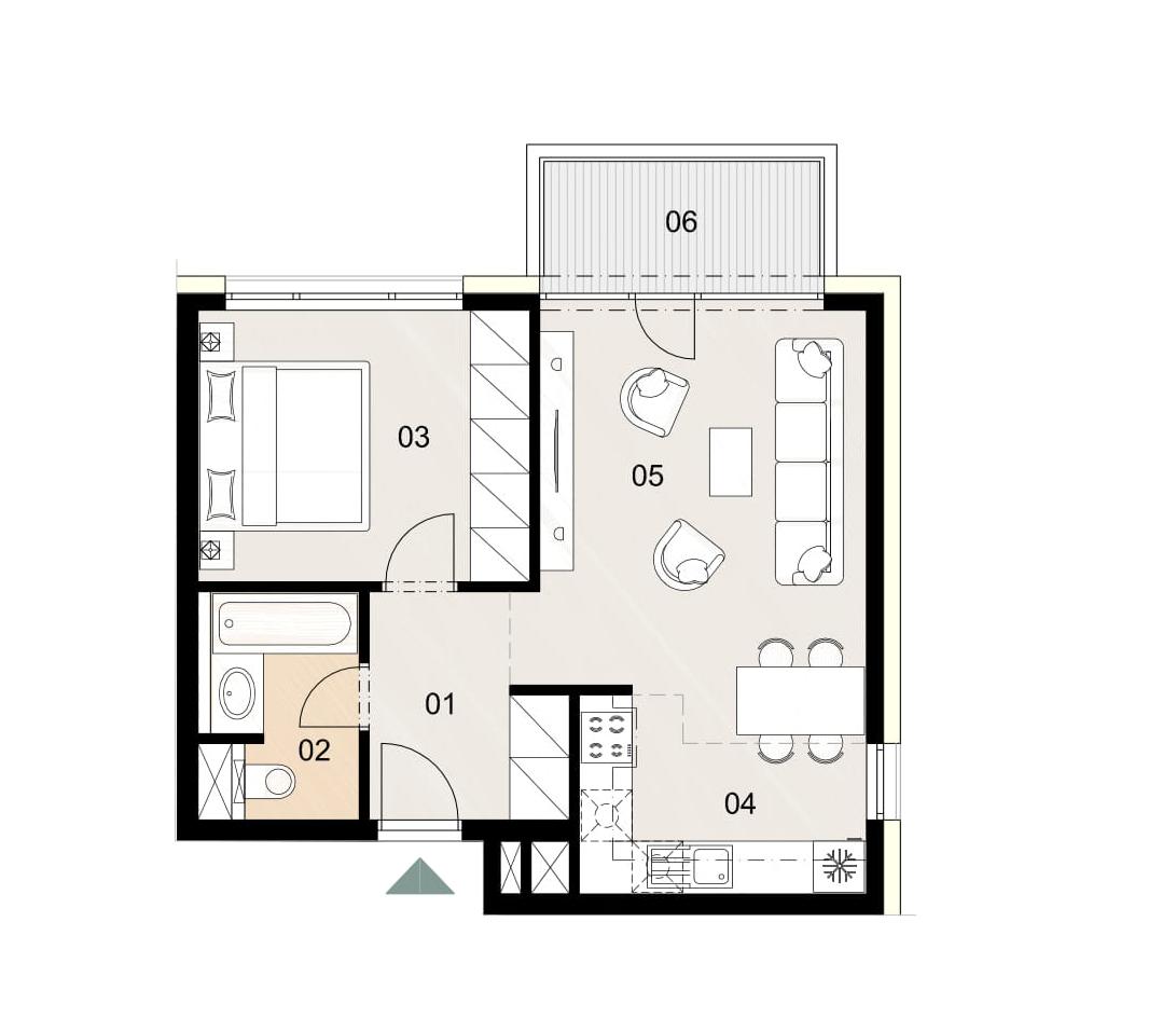 Rosenhaus byt 512, 2-izbový. Novostavba Vrakuňa.