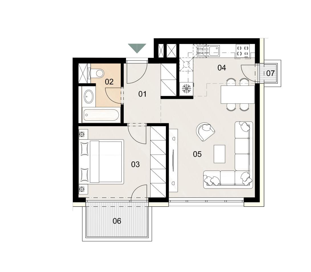 Rosenhaus byt 601, 2-izbový. Novostavba Vrakuňa.