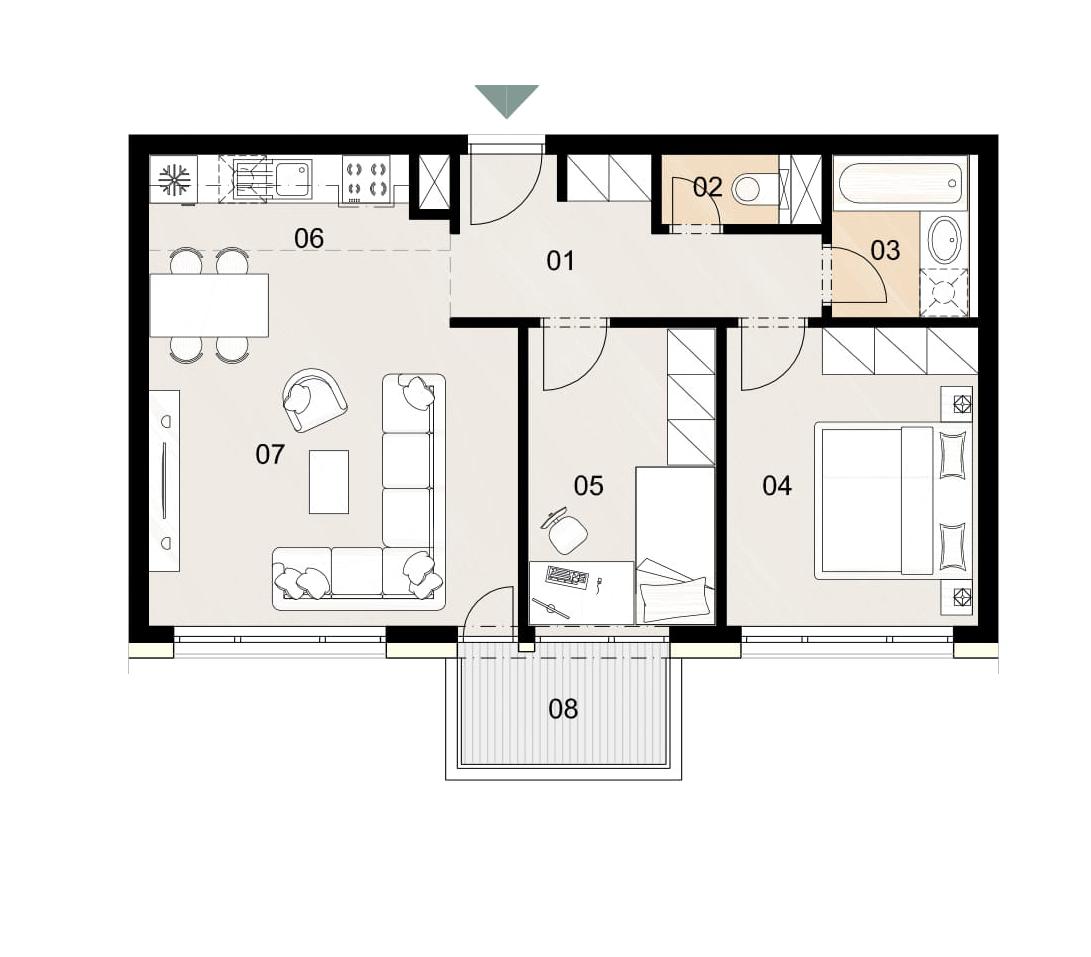 Rosenhaus byt 602, 3-izbový. Novostavba Vrakuňa.